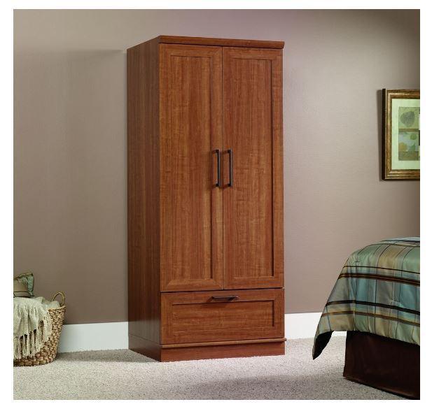 Sauder Homeplus Storage Wardrobe Cabinet with Garment Rod in Sienna Oak Finish
