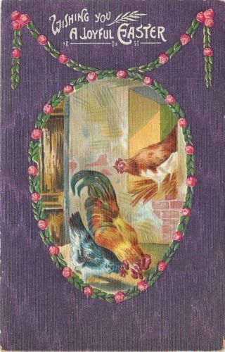 Easter~Rooster & Hens in Rose Garland Egg~Purple Texture Back~Emboss~'11 Germany