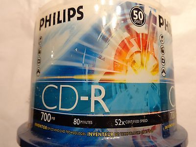 50 PCS PHILIPS BRANDED 52X CD-R BLANK CDR MEDIA DISCS