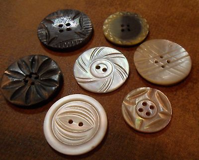 VINTAGE  MOP BUCKLE BUTTON LOT... MEDIUM AND LARGE BUTTONS