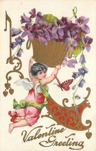 Valentine~Cupid~Pink Overalls~Lime Sash~Butterfly~Violets~Gold Art Nouveau~EMB