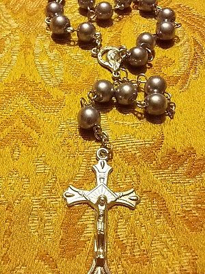 LARGE  GLASS ROSARY/ CROSS  METALLIC SILVER/GREY IN COLOR