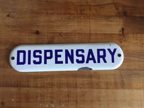 Dispensary Porcelain Sign Pharmacy Soda Coke Pepsi Advertising Country Store