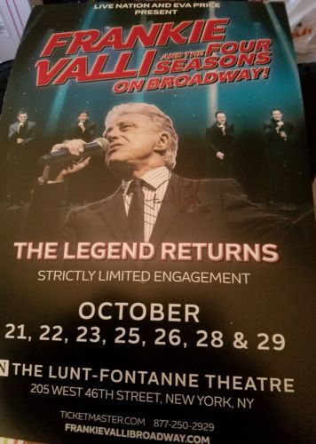 Frankie Valli signed And The Four Seasons On Broadway Window Card Poster RARE