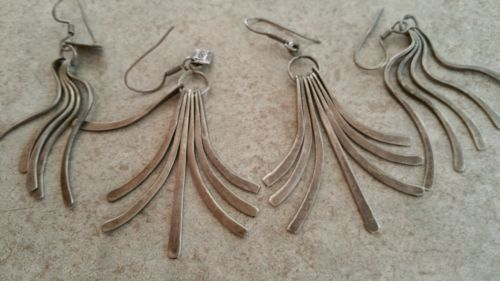 2 PAIR Vintage MEXICAN STERLING SIGNED MODERNIST LONG DANGLE EARRINGS ABSTRACT