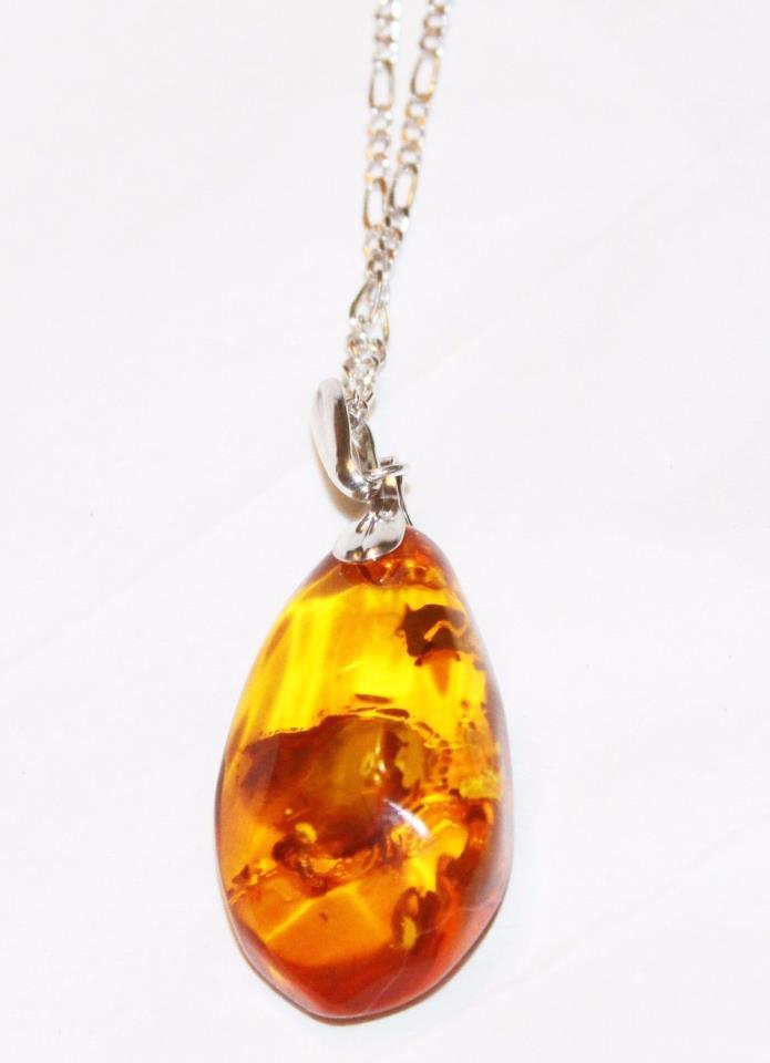 Chunky Baltic Honey Amber Pendant on 24