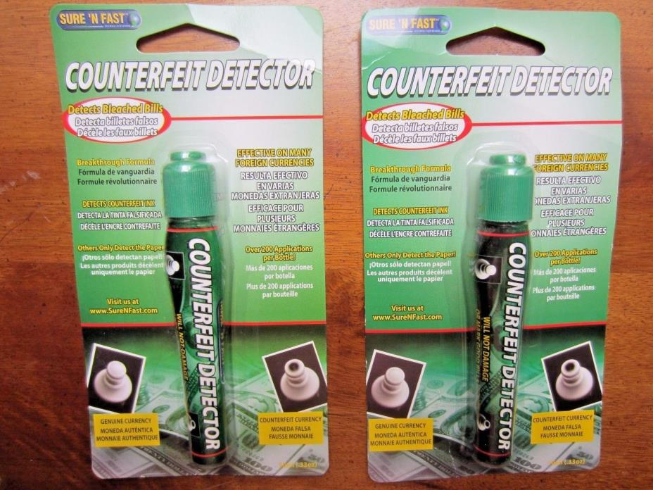 Counterfit Detectors, Sure n Fast detector pens, NIP