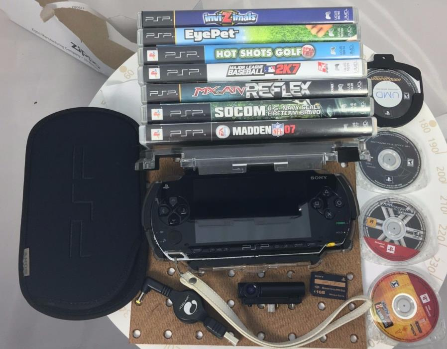 SONY PSP 1000 Black Bundle, Used + 11 Games + Camera + Memory Stick + 2 Cases