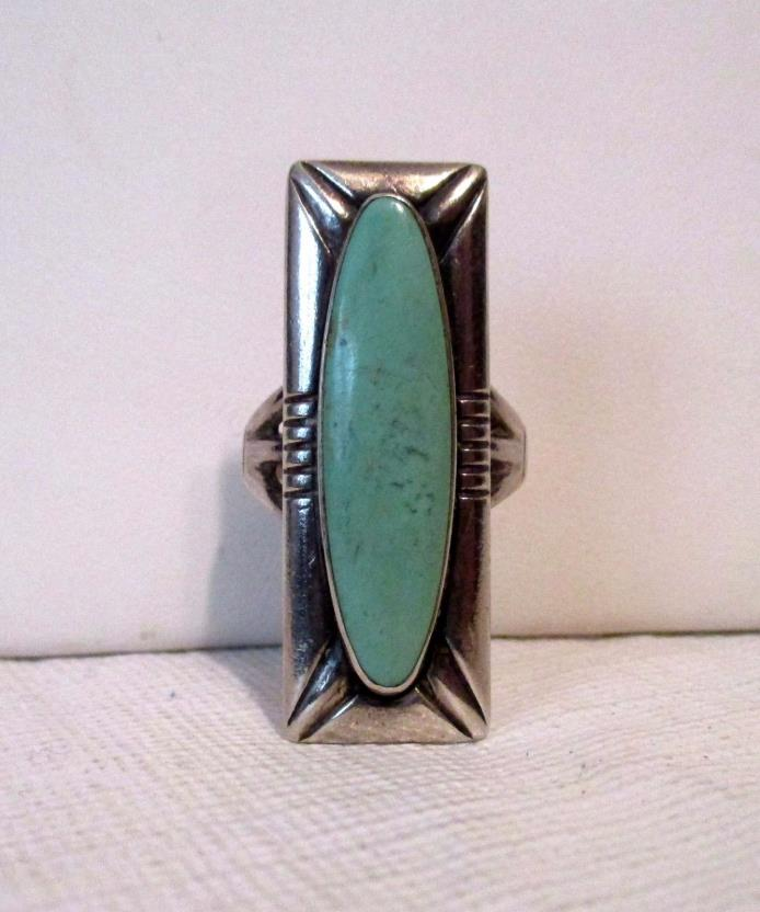vintage sterling turquoise ring Southwestern look size 6