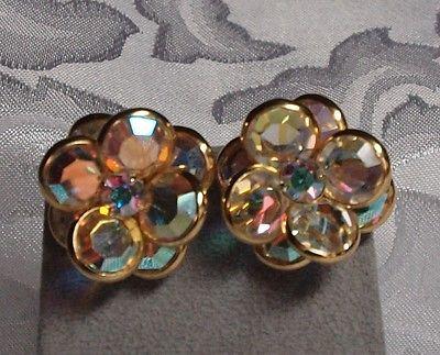 Vintage Swarovski bezel set aurora borealis flower clip-on earrings swan signed