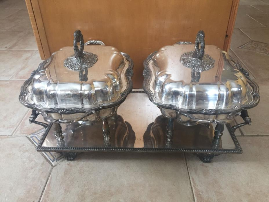 ANTIQUE CSC CROWN Silverplate Footed Oil Heater Lid Covered Double Serving Dish