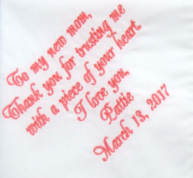 Embroidered Mother of the Groom Handkerchief, Mother of the Groom Gift