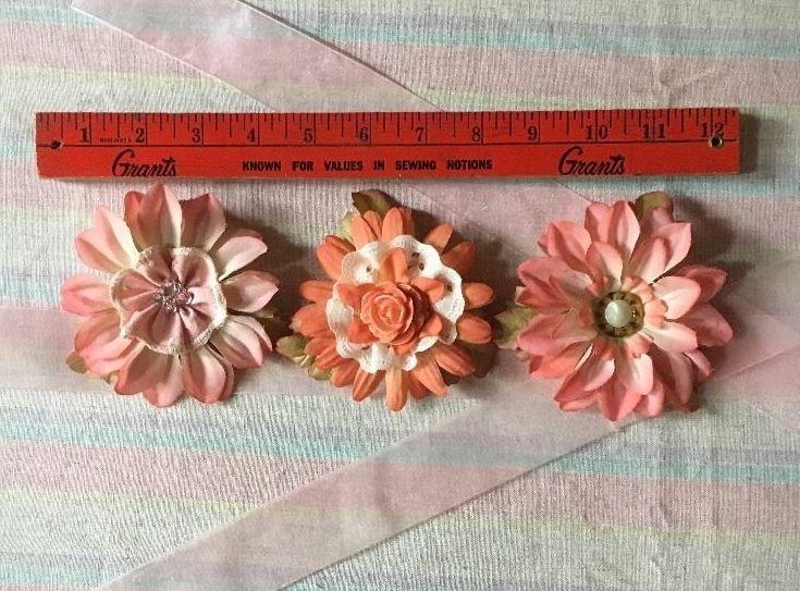 Lot Of 3 Handmade Hair Clip Pins Peach Florals