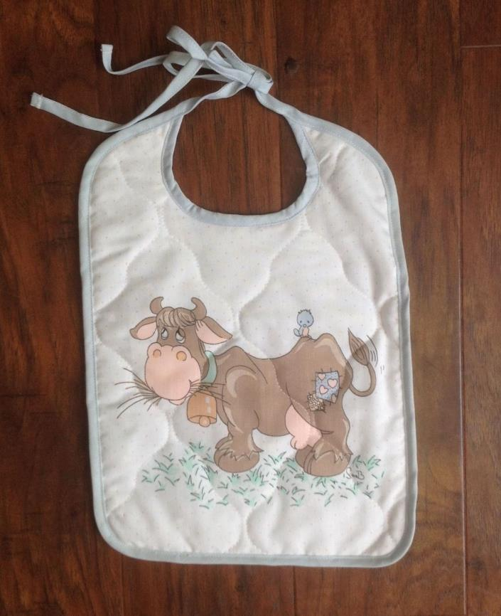 Vtg Precious Moments Baby Toddler Quilted Bib Retired Print COW Feeding