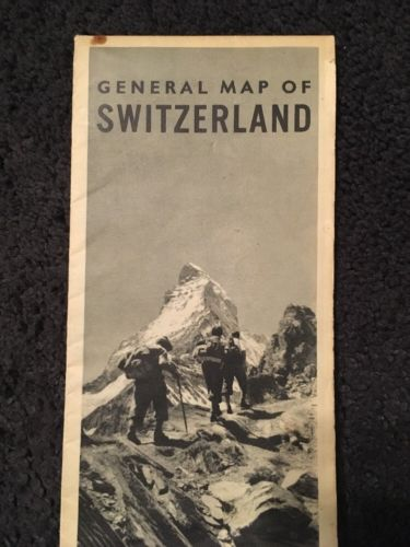 Vintage WWII General Map Of Switzerland Matterhorn Photo