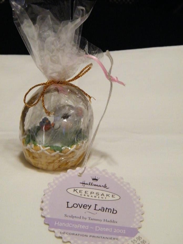 Hallmark Easter Ornament W/Lovey Lamb In Basket W/Tag Wrapped Never Used 2001