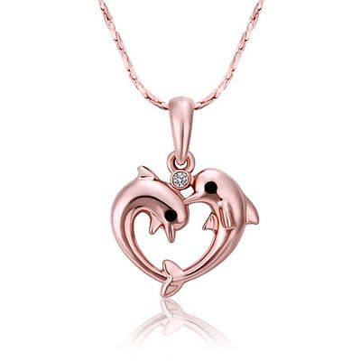 Double Dolphin Rose Gold plated Rhinestone Creative Pendant Necklace Souvenir