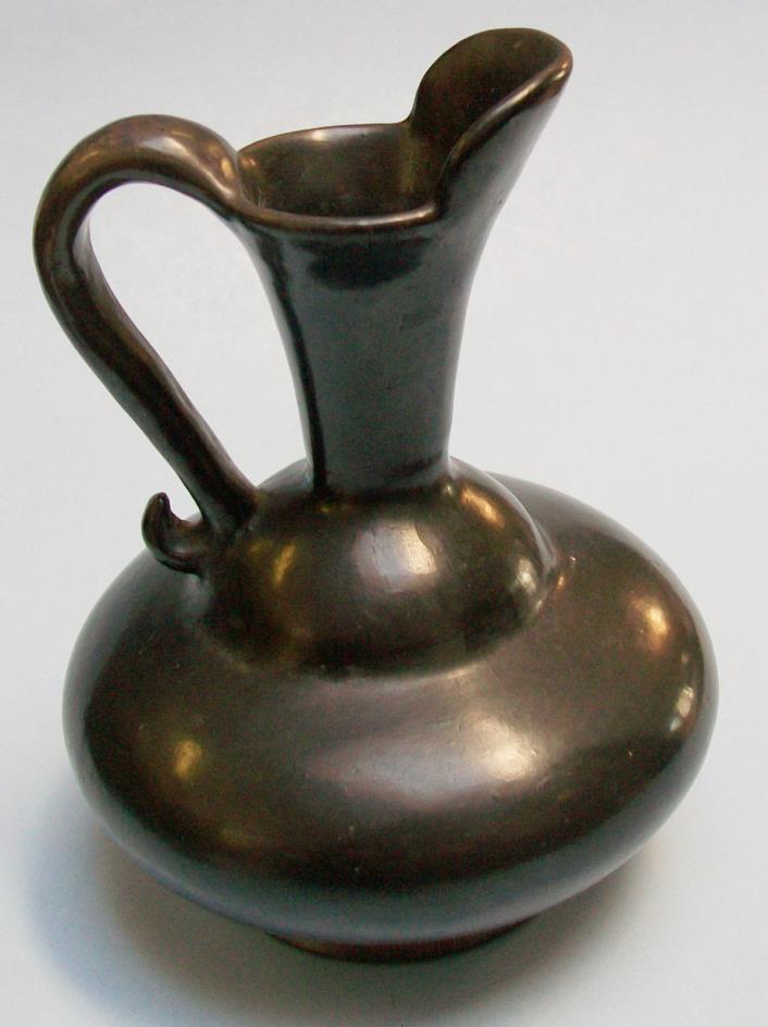 Vintage Native American Indian PITCHER, SANTA CLARA Pueblo Black Pottery