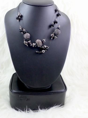 Lovely Black By The Wire Choker Bib Necklace With Beaded Charms