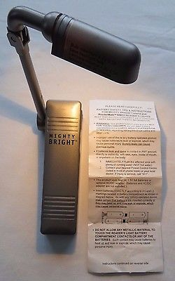 MIGHTY BRIGHT Book Readers Light Platinum Clip-On Portable Dual Power Adjustable