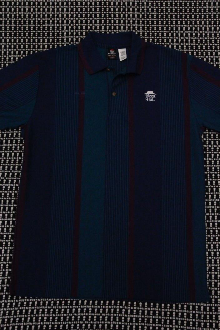PIZZA HUT Vintage Striped Embroidered Polo Shirt Men's Size Large Employee