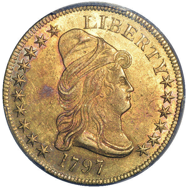 1797 $10 LARGE EAGLE BD-2 PCGS AU58