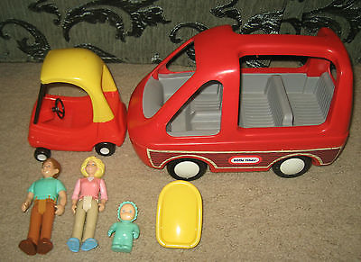 Lot Little Tikes Dollhouse Family Figures Mom Dad Baby Van Woody Coupe Car Seat