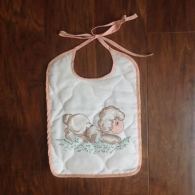 Vtg Precious Moments Baby Toddler Quilted Bib Retired LAMB/ SHEEP Pink Trim