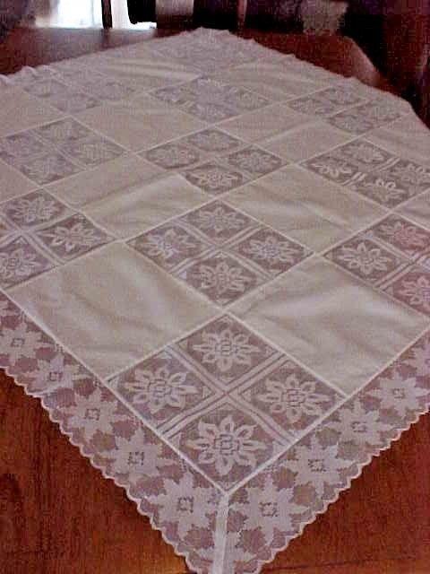 Pair VintageTablecloths Soft White Floral Crochet Lace~ 4 x 44