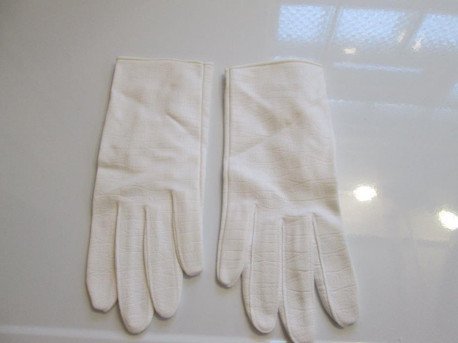 VINTAGE HANSEN WHITE LEATHER GLOVES - Size 7 -