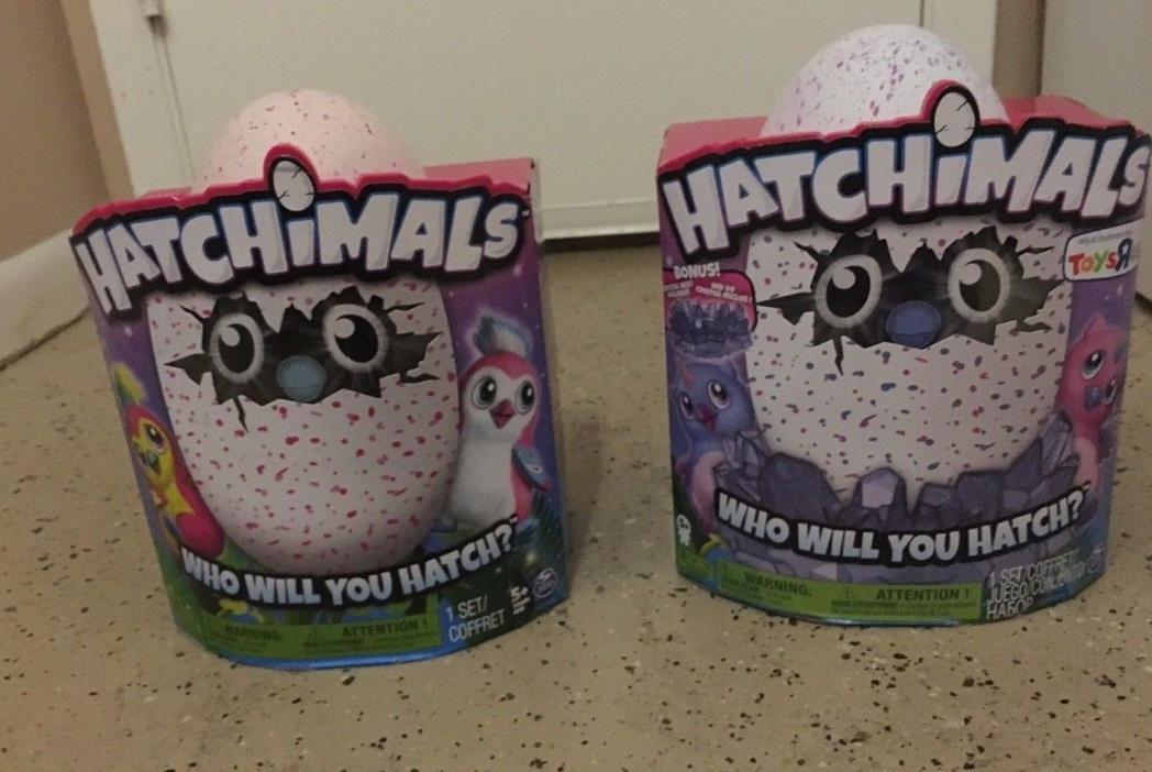 2 Hatchimals eggs owlicorn pink / blue penguala light pink/dark pink Easter eggs