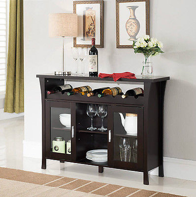 Buffet Table With Wine Rack Sideboard Wood Storage Bar Bottles Glasses Espresso