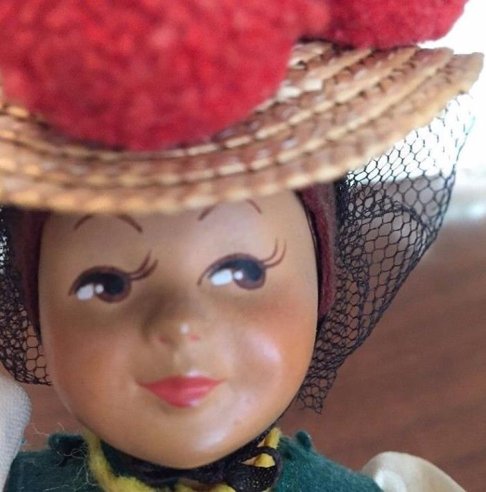 RARE VTG Napkin Lady Muffin Doll Celluloid Face 2 SKIRTS BENDABLE ARMS Tea Party