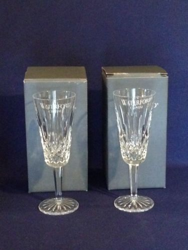 2 Vintage Waterford Lismore Crystal Flute Champagne Glasses With Box