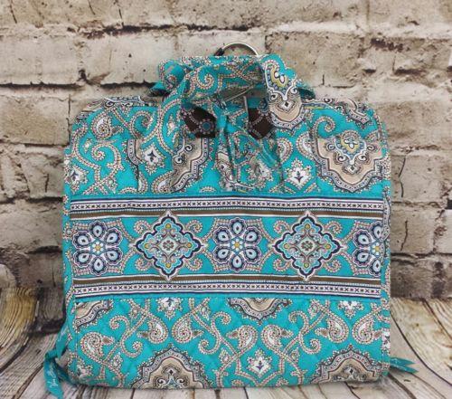 Vera Bradley Hanging Travel Toiletries Organizer Totally Turquoise Makeup Bag