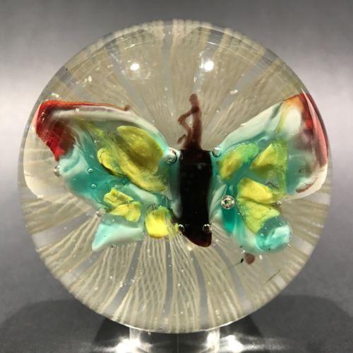 Vintage Murano Art Glass Paperweight Lampworked Butterfly on Latticino Basket