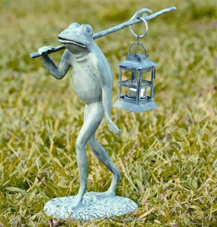 Strolling Frog Candle Lantern Candleholder Garden Statue Metal Sculpture Walking
