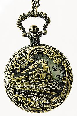 Mechanical Pocket Watch Steampunk Skeleton Train