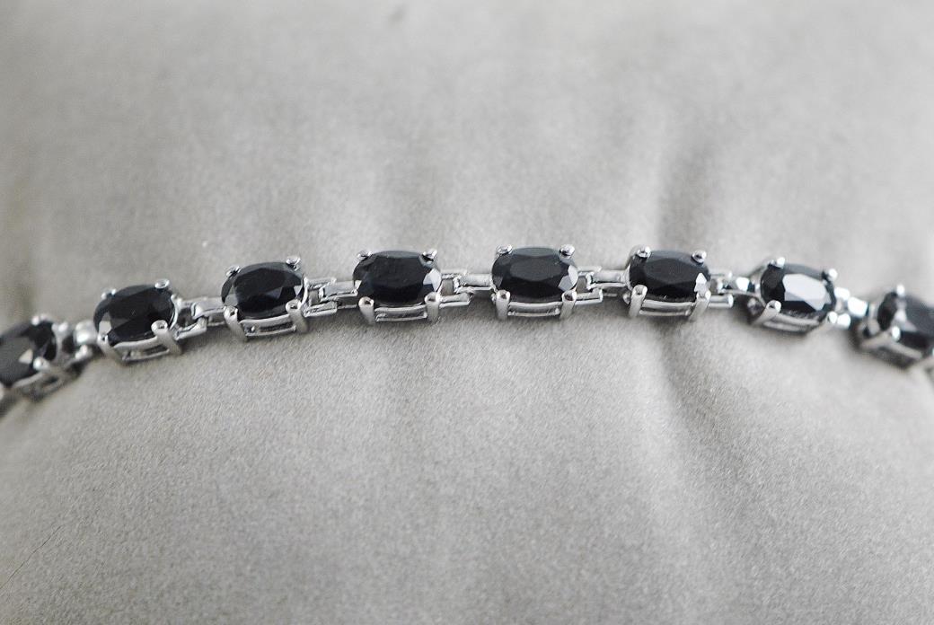 Sterling Silver Sapphire Tennis Bracelet