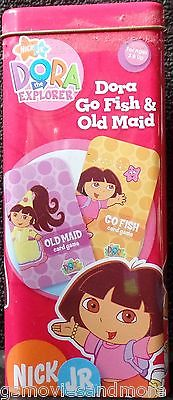 DORA THE EXPLORER Card Game GO FISH Metal Tin OLD MAID Nick Jr 2 NICKELODEON Kid