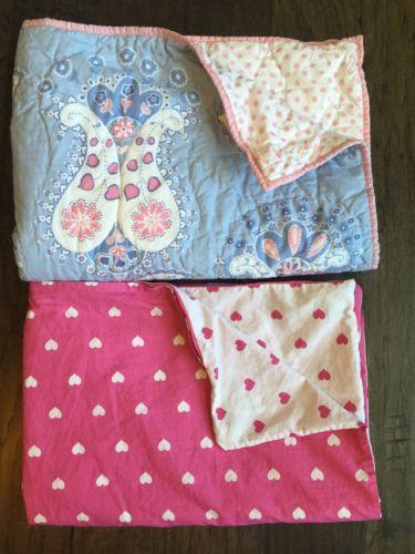 POTTERY BARN KIDS Chelsea Baby Quilt Crib Toddler Pink Heart Duvet Excellent