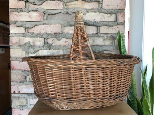 vintage Very Large wicker basket with handle