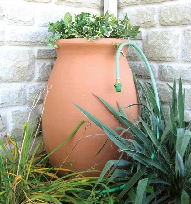 Rain Barrel With 4' Hose Spigot Brass 50 Gal Capacity Ceramic Look Terra Cotta
