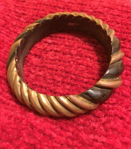 Vintage Black Wood And Brass Bangle Bracelet Large
