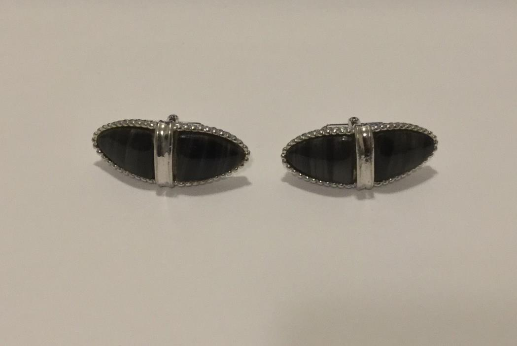STUNNING Vintage Signed PIONEER Cufflinks - Marbleized Black & White Stone Look