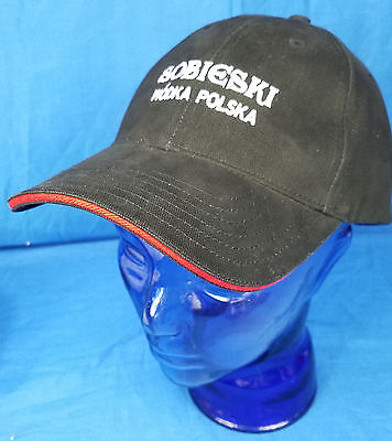 SOBIESKI Wodka Polska Polish Vodka Black Cap Red Hat Men's Crown Logo Adjustable