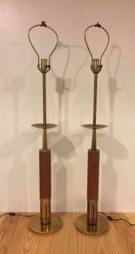 Tommi Parzinger Stiffel Lamps,   Pair.   Brass And Teak.   MCM, Eames Era.
