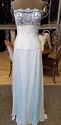 Ice Blue NEW Jovani Couture Gown, Size 4, Silk flowing