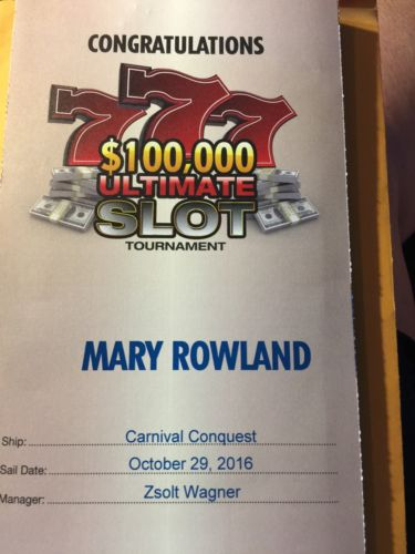 Carnival $100K Slot Tournament Entry ($500 Value) + 25% Off Cruise, Sails 4/9/17