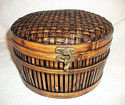 Vintage Round Woven Bamboo Wood Sewing/Storage Basket w/ Hinged Lid - 5